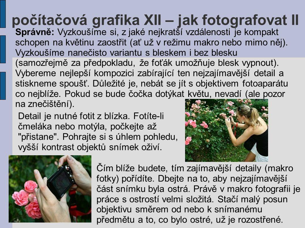 počítačová grafika XII – jak fotografovat II Správně: Vyzkoušíme si, z jaké nejkratší vzdálenosti je kompakt schopen na květinu zaostřit (ať už v reži