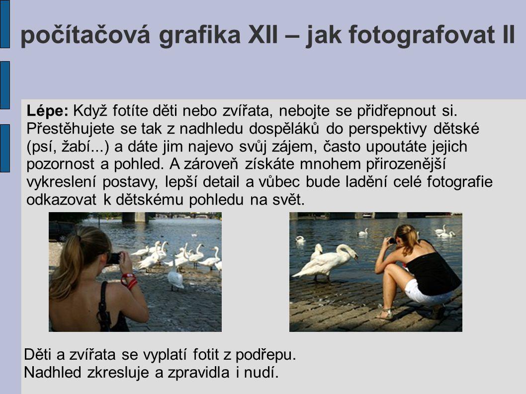 počítačová grafika XII – jak fotografovat II Lépe: Když fotíte děti nebo zvířata, nebojte se přidřepnout si. Přestěhujete se tak z nadhledu dospěláků