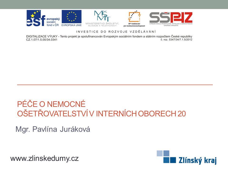 PÉČE O NEMOCNÉ OŠETŘOVATELSTVÍ V INTERNÍCH OBORECH 20 Mgr. Pavlína Juráková www.zlinskedumy.cz