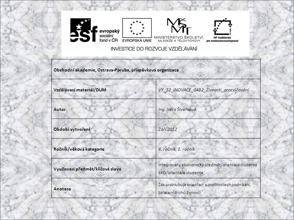 Obchodní akademie, Ostrava-Poruba, příspěvková organizace Vzdělávací materiál/DUMVY_32_INOVACE_04B2_Živnosti_procvičování AutorIng.