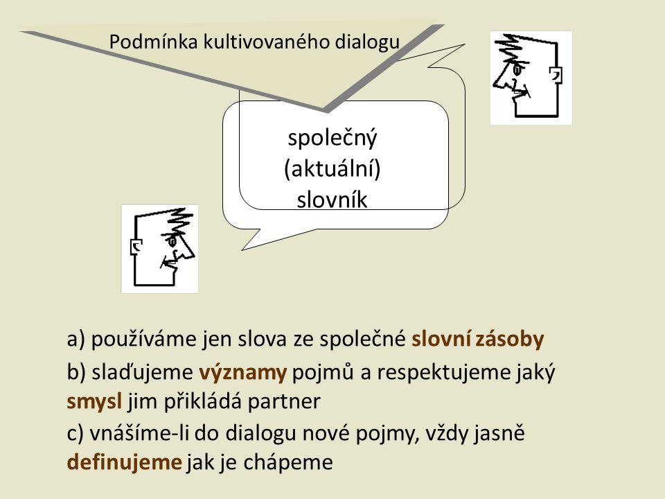společný (aktuální) slovník a) používáme jen slova ze společné slovní zásoby b) slaďujeme významy pojmů a respektujeme jaký smysl jim přikládá partner c) vnášíme-li do dialogu nové pojmy, vždy jasně definujeme jak je chápeme Podmínka kultivovaného dialogu