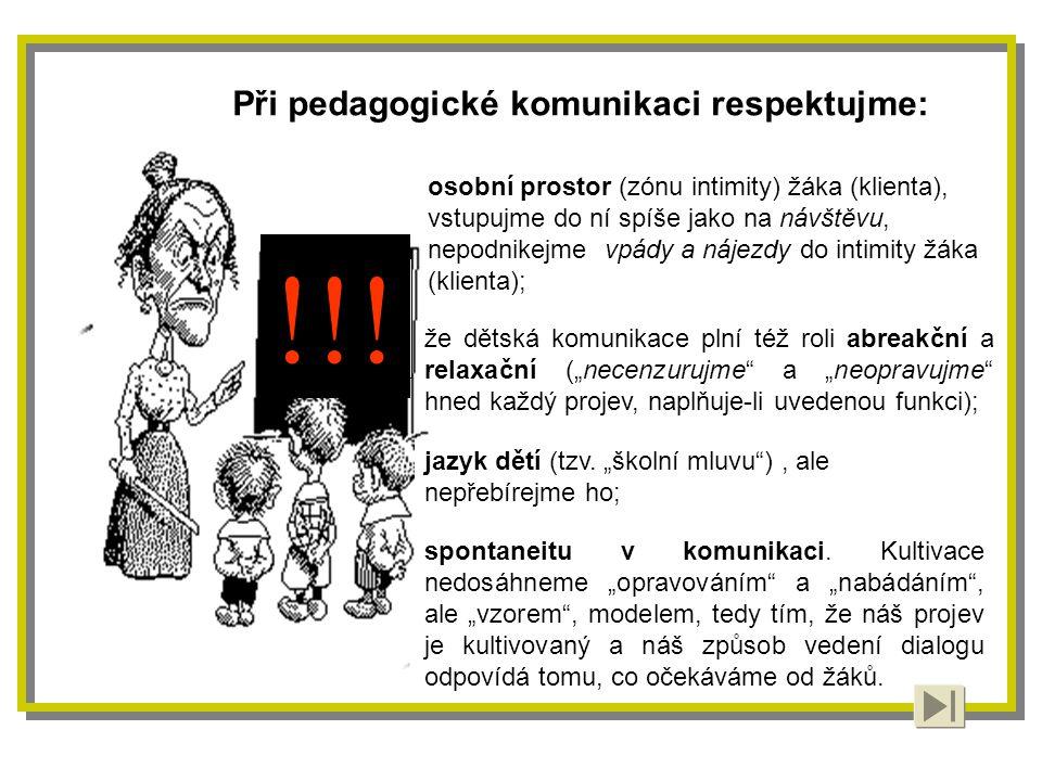 Při pedagogické komunikaci respektujme: !!.