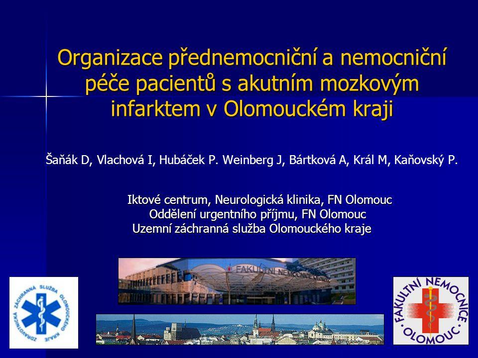 Organizace přednemocniční a nemocniční péče pacientů s akutním mozkovým infarktem v Olomouckém kraji Šaňák D, Vlachová I, Hubáček P. Weinberg J, Bártk