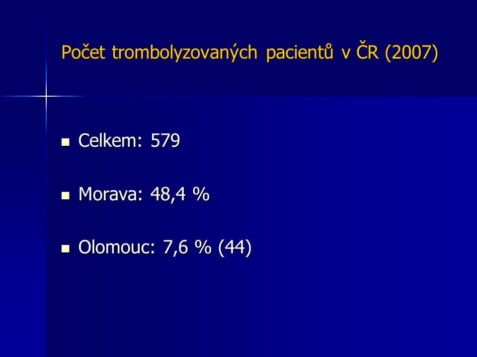 Počet trombolyzovaných pacientů v ČR (2007) Celkem: 579 Celkem: 579 Morava: 48,4 % Morava: 48,4 % Olomouc: 7,6 % (44) Olomouc: 7,6 % (44)
