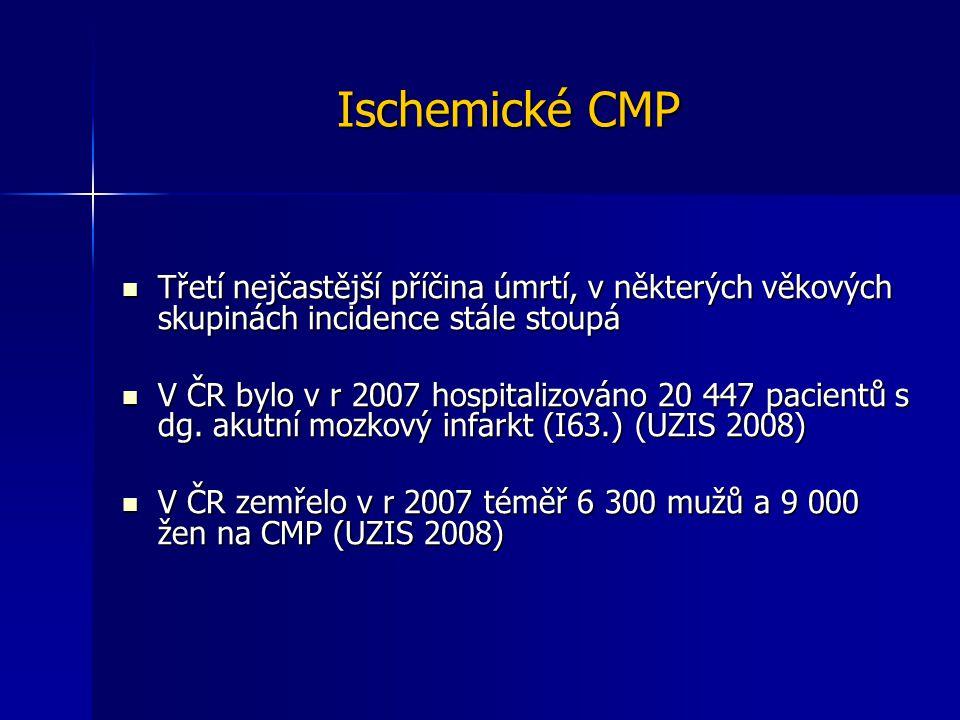 Ischemické CMP Třetí nejčastější příčina úmrtí, v některých věkových skupinách incidence stále stoupá Třetí nejčastější příčina úmrtí, v některých věk