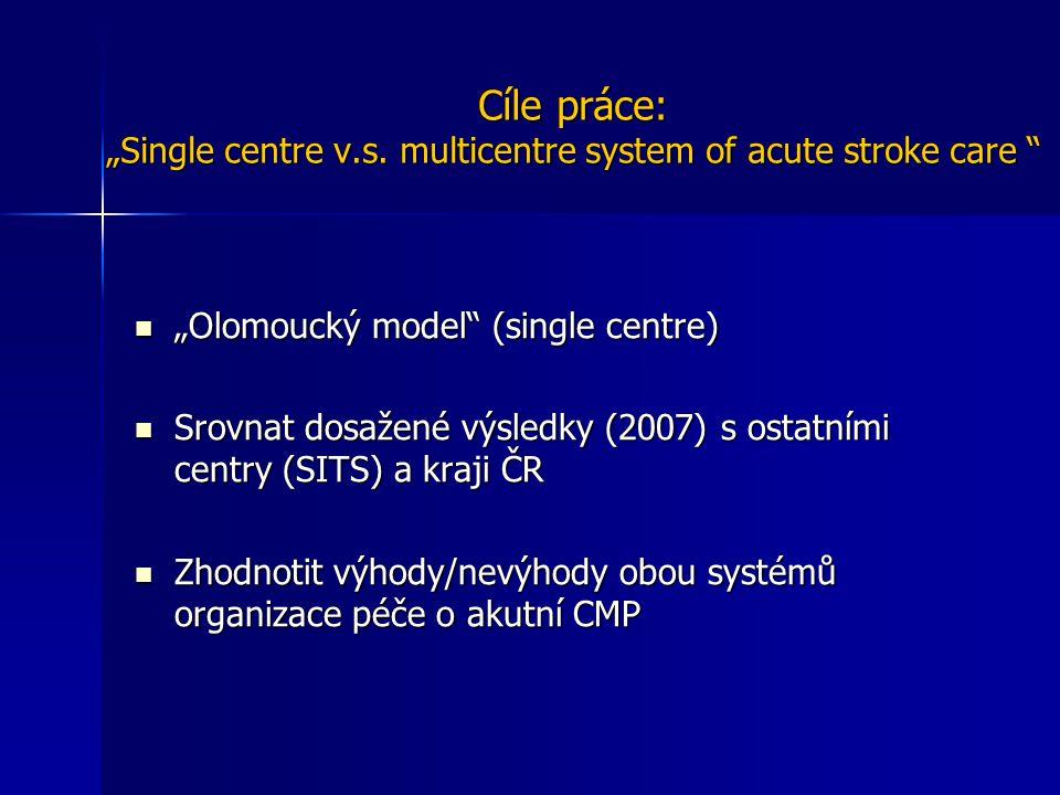 """Cíle práce: """"Single centre v.s. multicentre system of acute stroke care """" Cíle práce: """"Single centre v.s. multicentre system of acute stroke care """" """"O"""