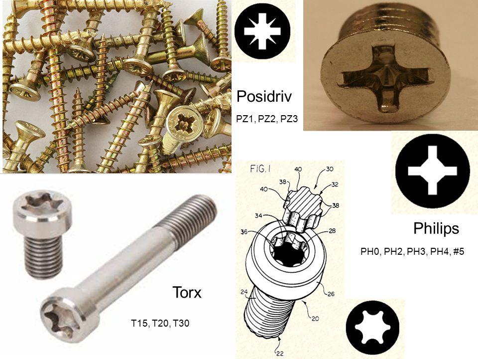 Torx Posidriv Philips T15, T20, T30 PZ1, PZ2, PZ3 PH0, PH2, PH3, PH4, #5