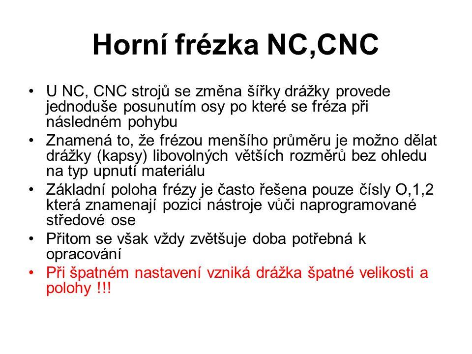 Horní frézka NC,CNC U NC, CNC strojů se změna šířky drážky provede jednoduše posunutím osy po které se fréza při následném pohybu Znamená to, že frézo