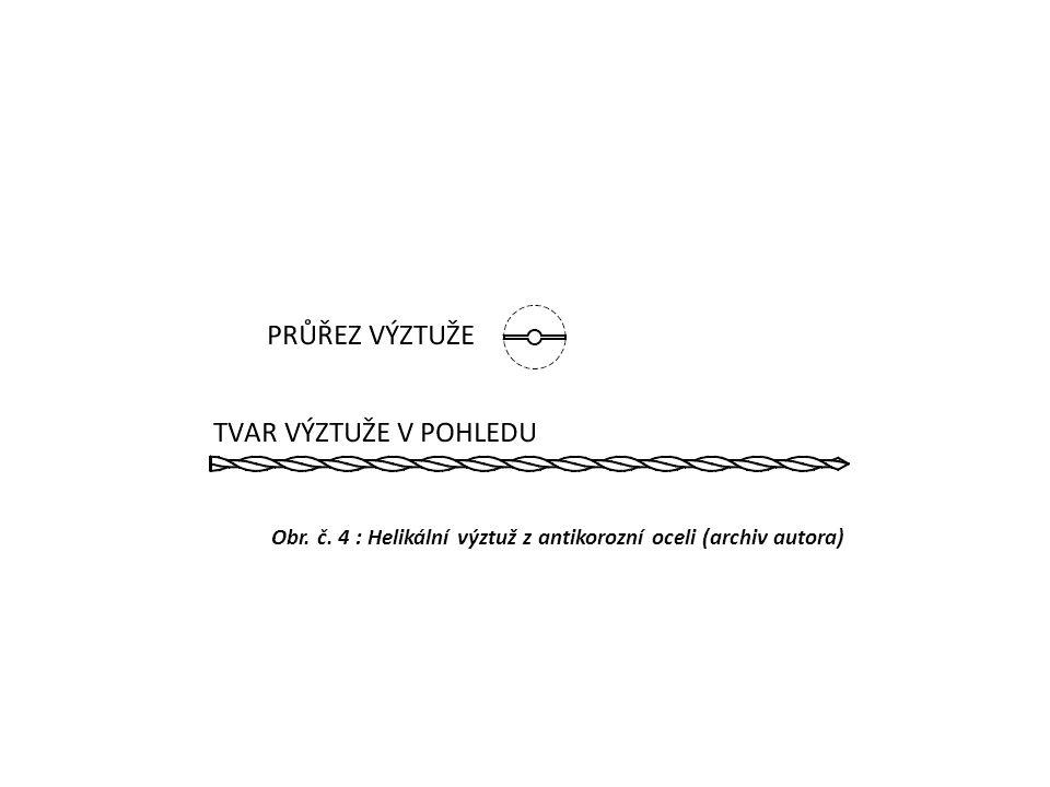Obr. č. 4 : Helikální výztuž z antikorozní oceli (archiv autora)