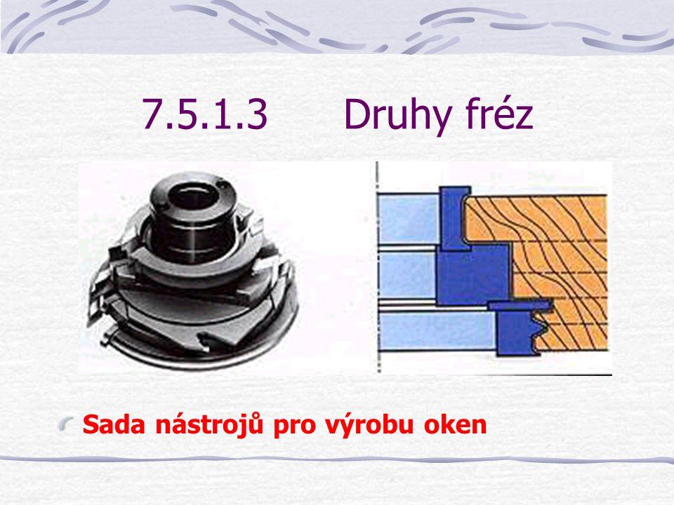 7.5.1.3Druhy fréz Sada nástrojů pro péra a drážky
