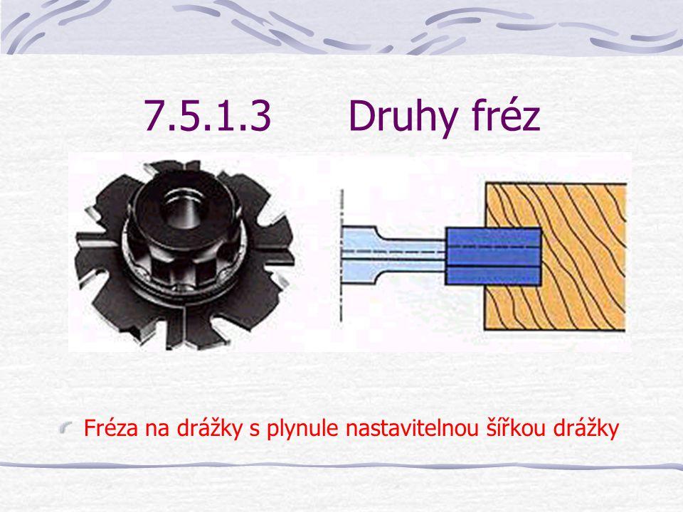 7.5.1.3Druhy fréz Frézy na drážky se vyrábějí v nejpoužívanějších šířkách drážky 4, 6, 8, 10, 12 a 16 mm z rychlořezné oceli nebo slinutých karbidů.