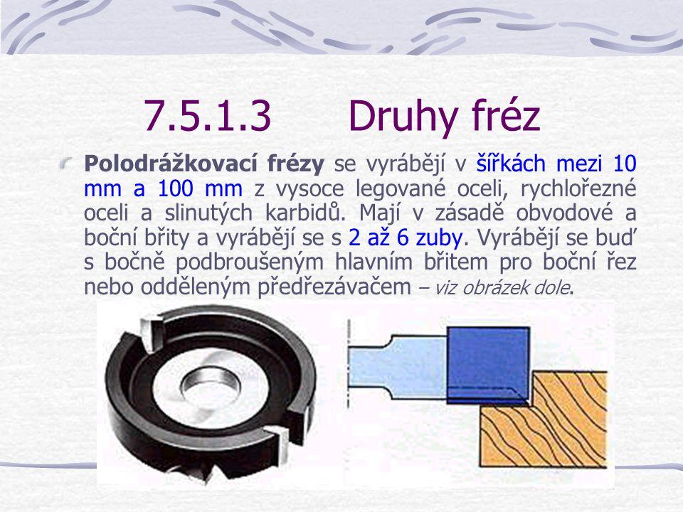 7.5.1.3Druhy fréz Frézy na srovnání boků se vyrábějí v šířkách 10 mm až 100 mm.