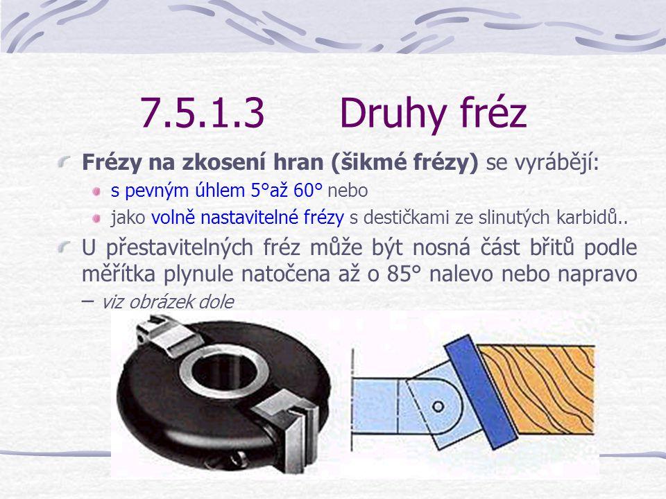 7.5.1.3Druhy fréz Polodrážkovací frézy se vyrábějí v šířkách mezi 10 mm a 100 mm z vysoce legované oceli, rychlořezné oceli a slinutých karbidů.