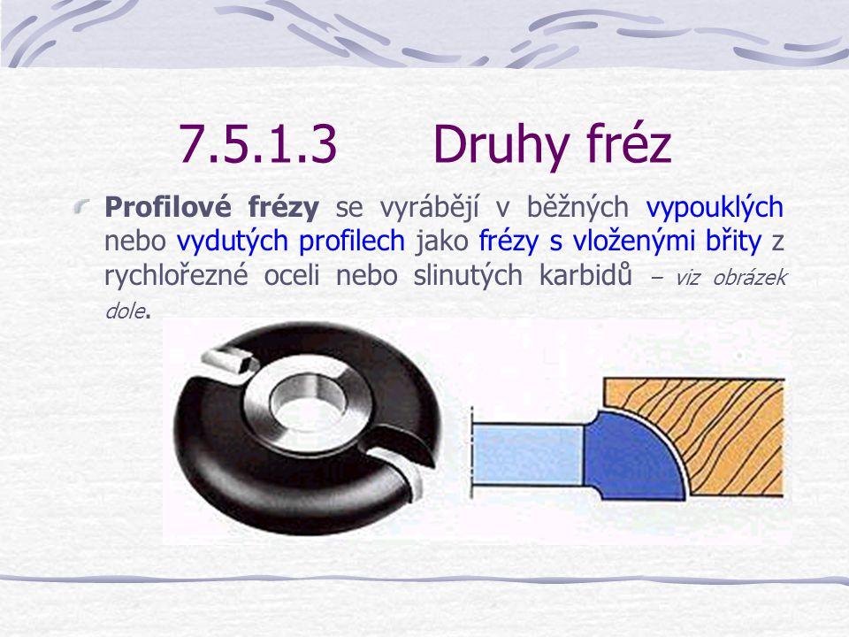 7.5.1.3Druhy fréz Frézy na zkosení hran (šikmé frézy) se vyrábějí: s pevným úhlem 5°až 60° nebo jako volně nastavitelné frézy s destičkami ze slinutých karbidů..