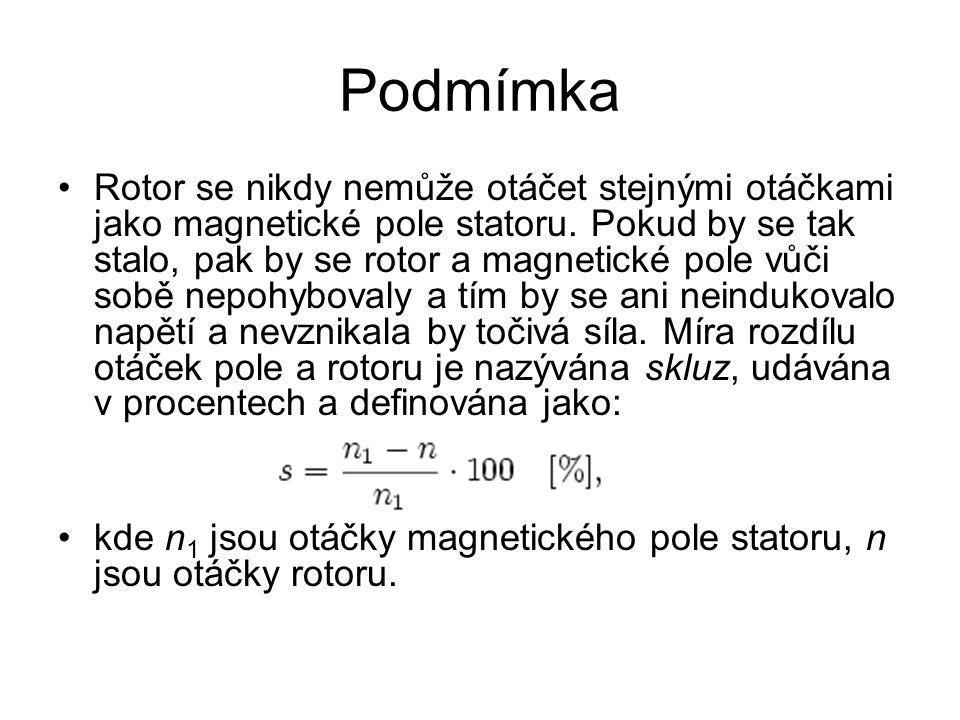 Podmímka Rotor se nikdy nemůže otáčet stejnými otáčkami jako magnetické pole statoru. Pokud by se tak stalo, pak by se rotor a magnetické pole vůči so