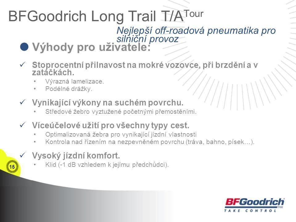 15 BFGoodrich Long Trail T/A Tour  Výhody pro uživatele: Stoprocentní přilnavost na mokré vozovce, při brzdění a v zatáčkách.