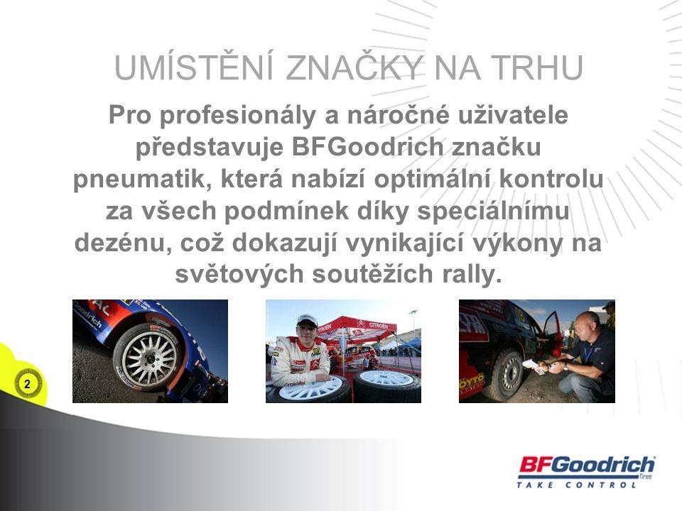 2 UMÍSTĚNÍ ZNAČKY NA TRHU Pro profesionály a náročné uživatele představuje BFGoodrich značku pneumatik, která nabízí optimální kontrolu za všech podmínek díky speciálnímu dezénu, což dokazují vynikající výkony na světových soutěžích rally.