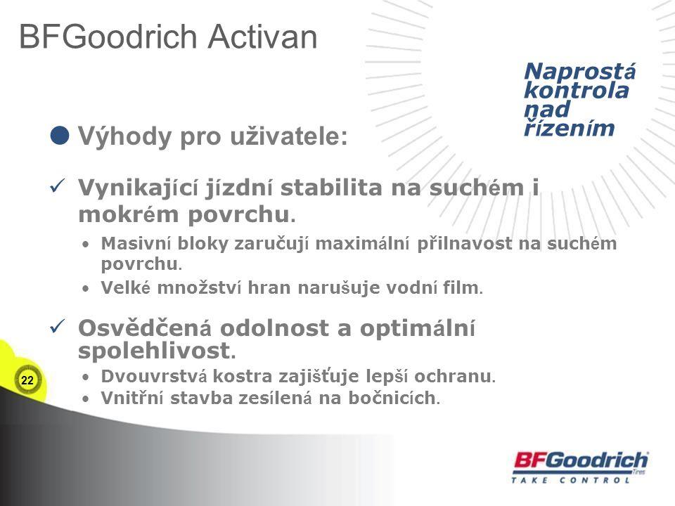 22 BFGoodrich Activan  Výhody pro uživatele: Vynikaj í c í j í zdn í stabilita na such é m i mokr é m povrchu.