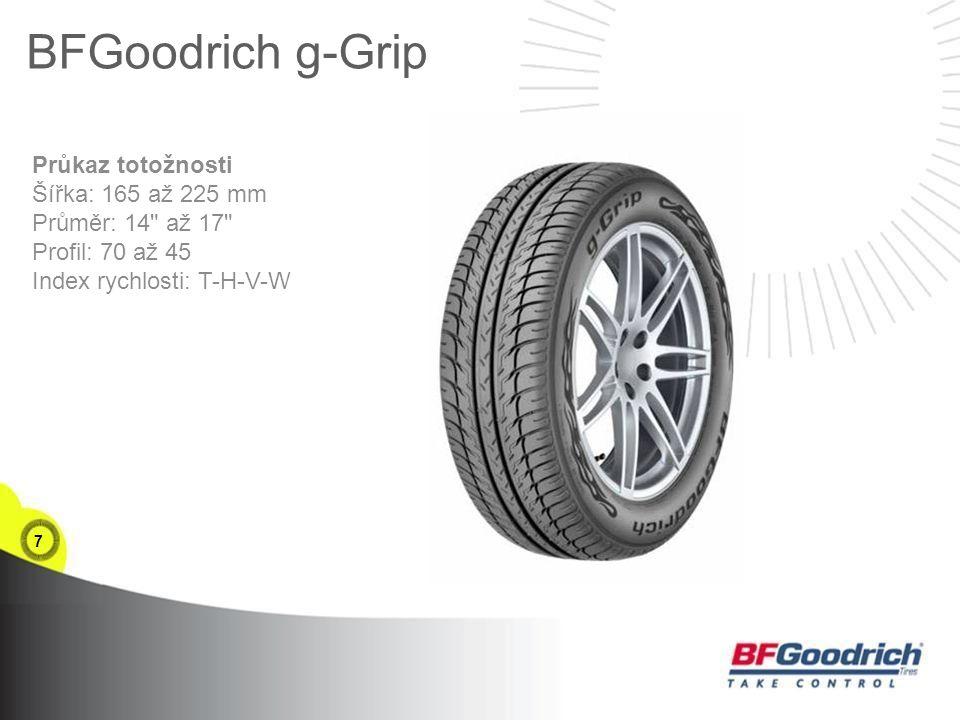7 BFGoodrich g-Grip Průkaz totožnosti Šířka: 165 až 225 mm Průměr: 14 až 17 Profil: 70 až 45 Index rychlosti: T-H-V-W
