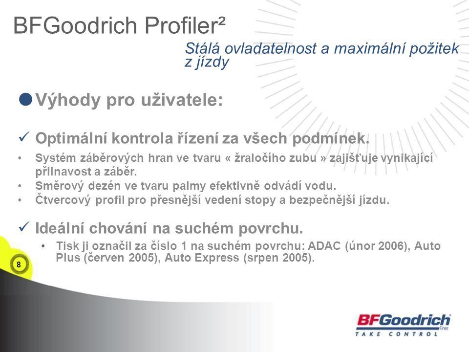 8 BFGoodrich Profiler²  Výhody pro uživatele: Optimální kontrola řízení za všech podmínek.