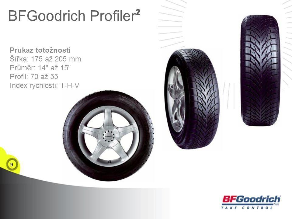 9 BFGoodrich Profiler ² Průkaz totožnosti Šířka: 175 až 205 mm Průměr: 14 až 15 Profil: 70 až 55 Index rychlosti: T-H-V