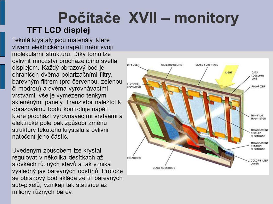 Počítače XVII – monitory Tekuté krystaly jsou materiály, které vlivem elektrického napětí mění svoji molekulární strukturu.
