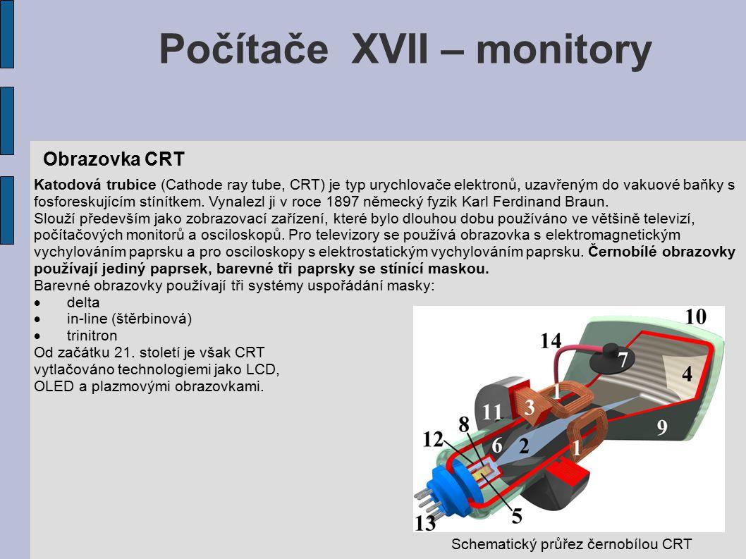 Počítače XVII – monitory Obrazovka CRT Katodová trubice (Cathode ray tube, CRT) je typ urychlovače elektronů, uzavřeným do vakuové baňky s fosforeskujícím stínítkem.