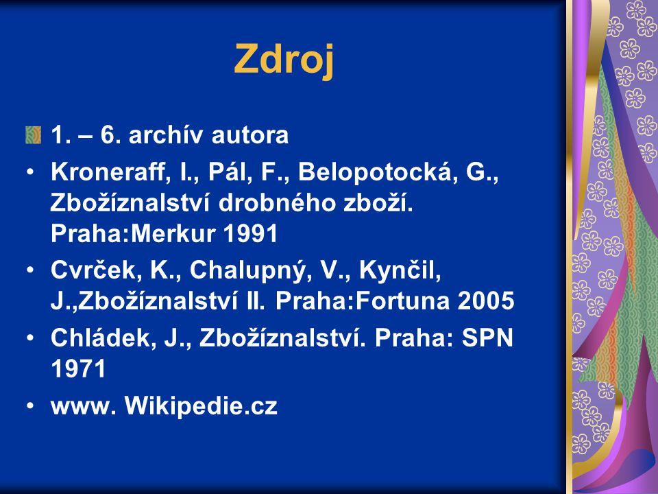 Zdroj 1. – 6. archív autora Kroneraff, I., Pál, F., Belopotocká, G., Zbožíznalství drobného zboží. Praha:Merkur 1991 Cvrček, K., Chalupný, V., Kynčil,