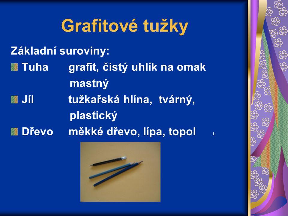 Grafitové tužky Základní suroviny: Tuha grafit, čistý uhlík na omak mastný Jíl tužkařská hlína, tvárný, plastický Dřevo měkké dřevo, lípa, topol 1.