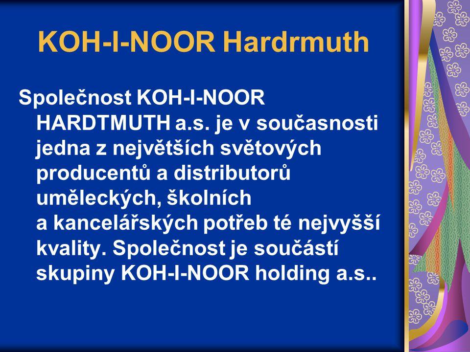 KOH-I-NOOR Hardrmuth Společnost KOH-I-NOOR HARDTMUTH a.s. je v současnosti jedna z největších světových producentů a distributorů uměleckých, školních