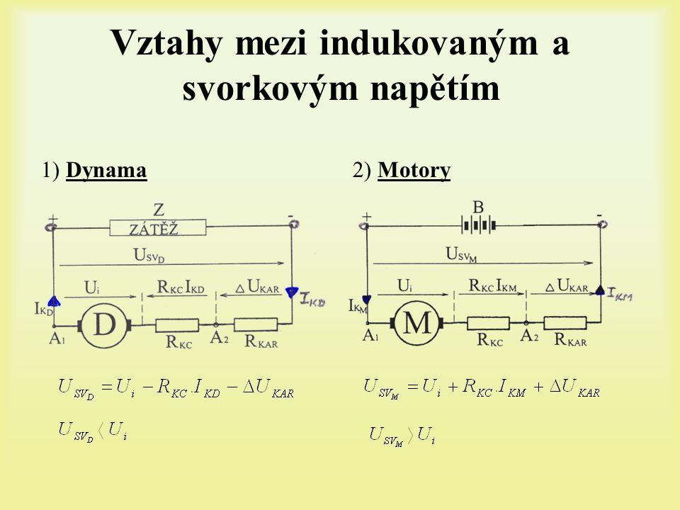 Vztahy mezi indukovaným a svorkovým napětím 1) Dynama2) Motory