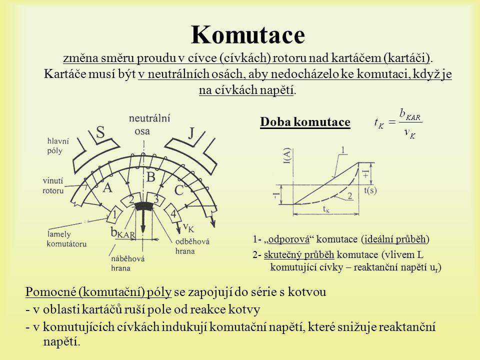 Komutace změna směru proudu v cívce (cívkách) rotoru nad kartáčem (kartáči).