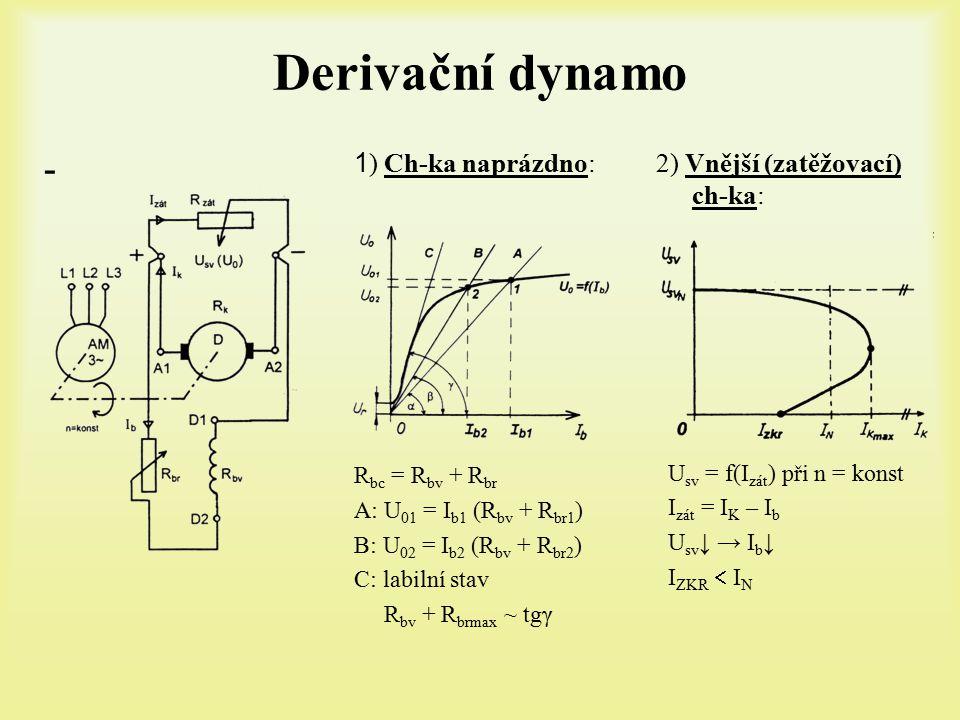 Derivační dynamo - 2) Vnější (zatěžovací) ch-ka: U sv = f(I zát ) při n = konst I zát = I K – I b U sv ↓ → I b ↓ I ZKR  I N 1 ) Ch-ka naprázdno: R bc = R bv + R br A: U 01 = I b1 (R bv + R br1 ) B: U 02 = I b2 (R bv + R br2 ) C: labilní stav R bv + R brmax ~ tgγ