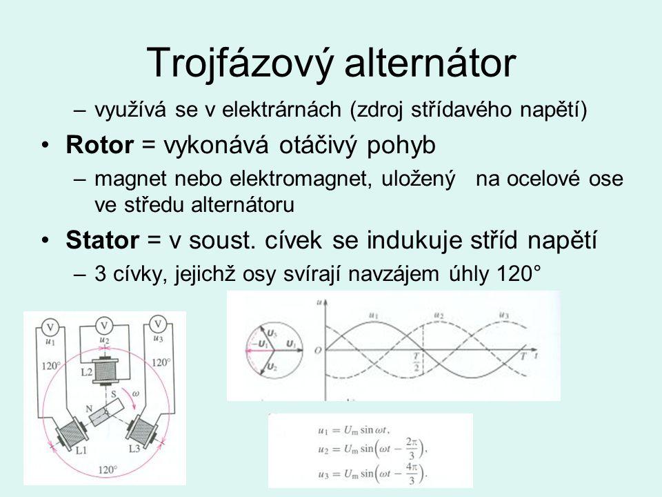 Trojfázový alternátor –využívá se v elektrárnách (zdroj střídavého napětí) Rotor = vykonává otáčivý pohyb –magnet nebo elektromagnet, uložený na ocelové ose ve středu alternátoru Stator = v soust.