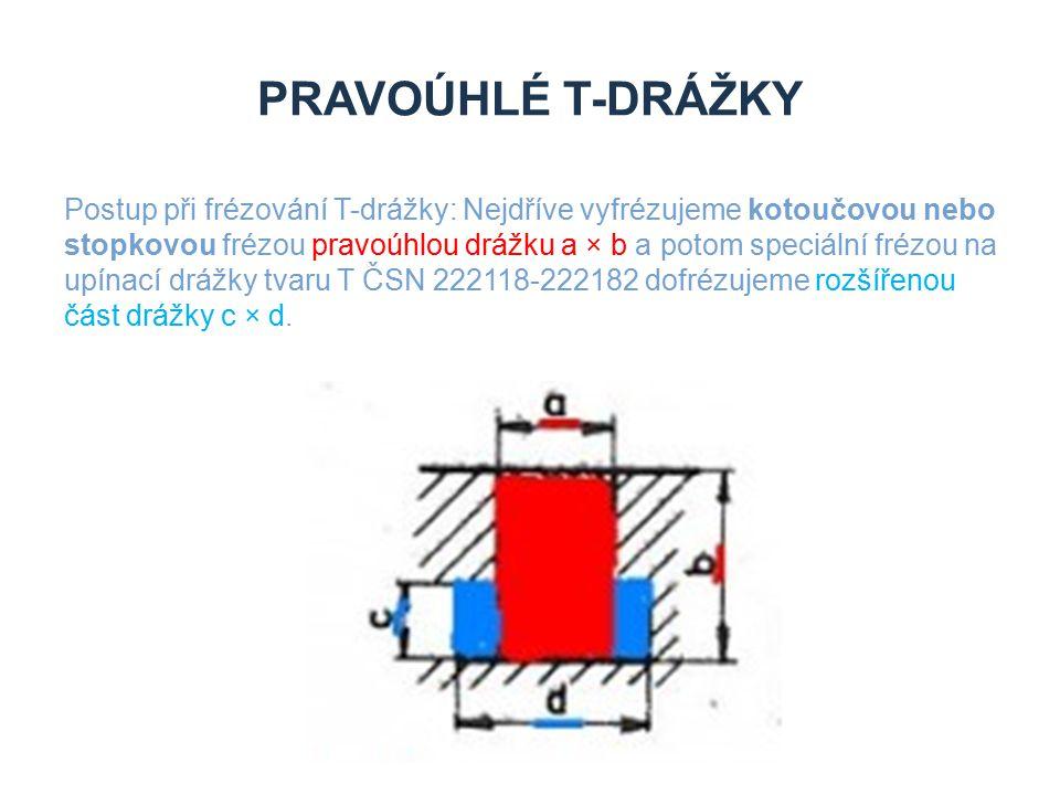 PRAVOÚHLÉ T-DRÁŽKY Postup při frézování T-drážky: Nejdříve vyfrézujeme kotoučovou nebo stopkovou frézou pravoúhlou drážku a × b a potom speciální fréz