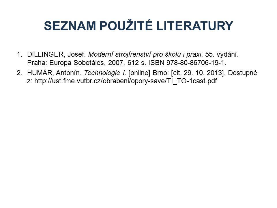 1.DILLINGER, Josef. Moderní strojírenství pro školu i praxi. 55. vydání. Praha: Europa Sobotáles, 2007. 612 s. ISBN 978-80-86706-19-1. 2.HUMÁR, Antoní