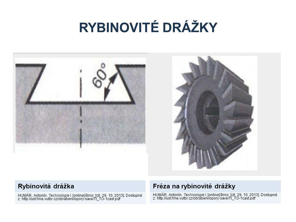 RYBINOVITÉ DRÁŽKY Rybinovitá drážkaFréza na rybinovité drážky HUMÁR, Antonín. Technologie I. [online] Brno: [cit. 29. 10. 2013]. Dostupné z: http://us