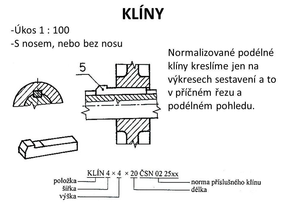 KLÍNY -Úkos 1 : 100 -S nosem, nebo bez nosu Normalizované podélné klíny kreslíme jen na výkresech sestavení a to v příčném řezu a podélném pohledu.