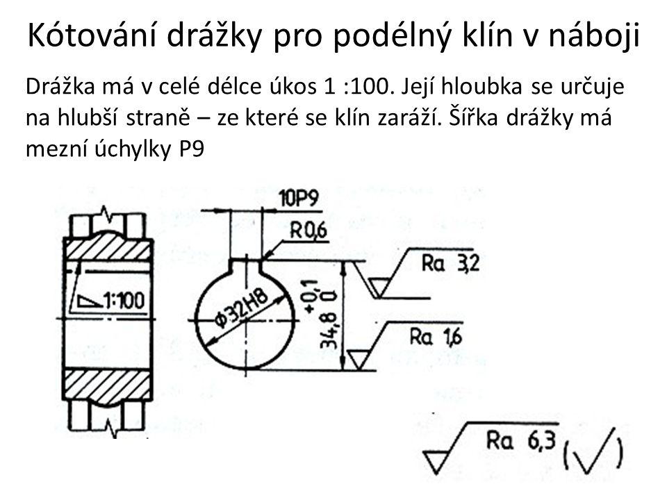Kótování drážky pro podélný klín v náboji Drážka má v celé délce úkos 1 :100. Její hloubka se určuje na hlubší straně – ze které se klín zaráží. Šířka