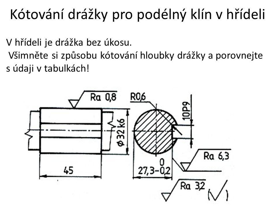 Kótování drážky pro podélný klín v hřídeli V hřídeli je drážka bez úkosu. Všimněte si způsobu kótování hloubky drážky a porovnejte s údaji v tabulkách
