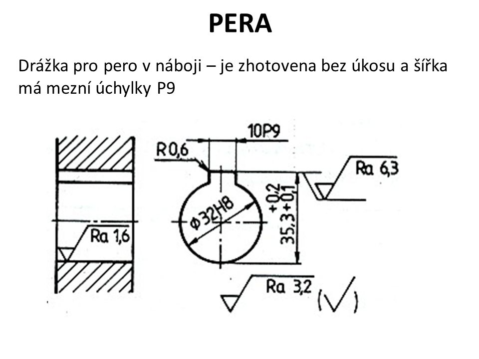 PERA Drážka pro pero v náboji – je zhotovena bez úkosu a šířka má mezní úchylky P9