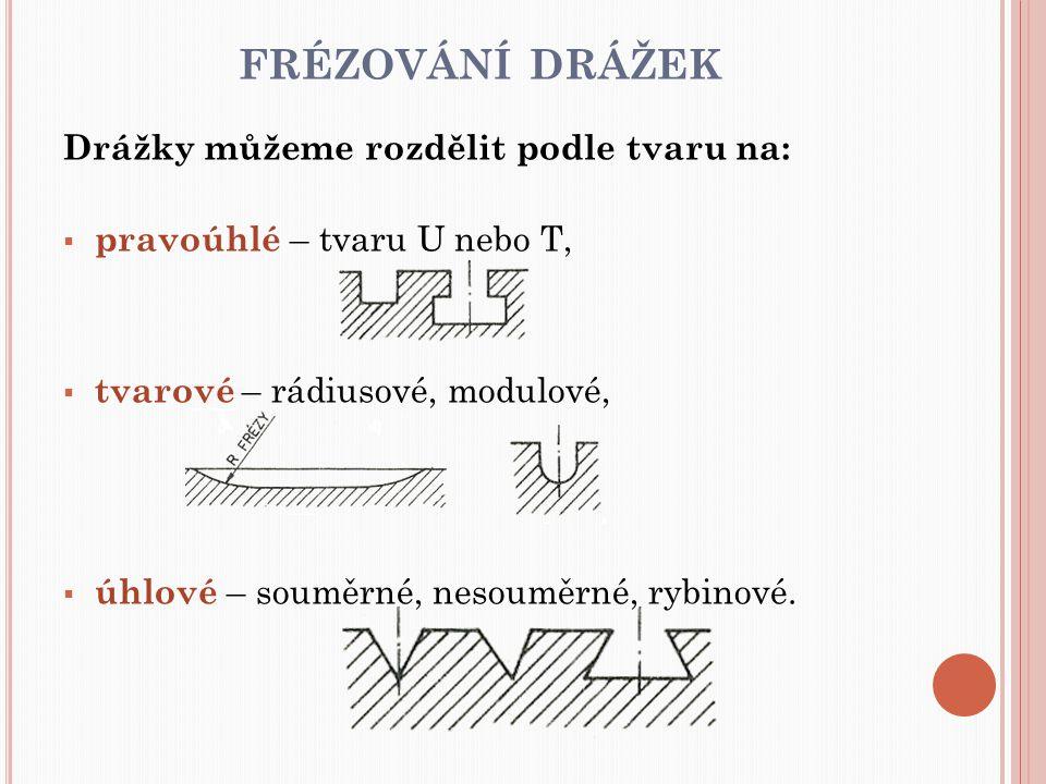 FRÉZOVÁNÍ DRÁŽEK Drážky můžeme rozdělit podle tvaru na:  pravoúhlé – tvaru U nebo T,  tvarové – rádiusové, modulové,  úhlové – souměrné, nesouměrné