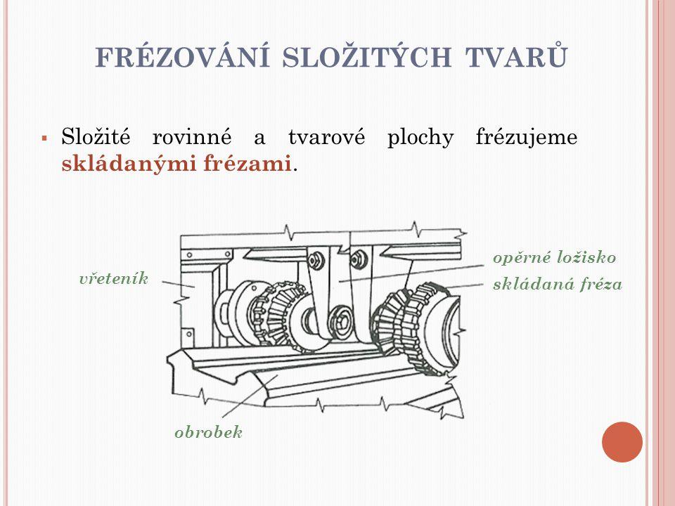 FRÉZOVÁNÍ SLOŽITÝCH TVARŮ  Složité rovinné a tvarové plochy frézujeme skládanými frézami. opěrné ložisko skládaná fréza obrobek vřeteník