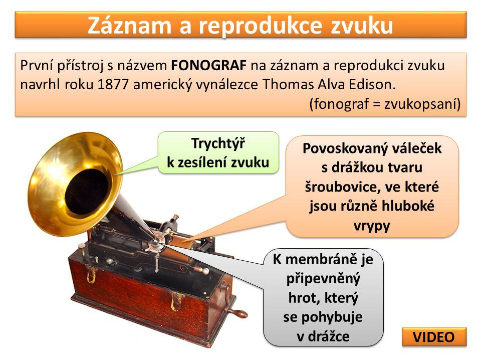 Záznam a reprodukce zvuku První přístroj s názvem FONOGRAF na záznam a reprodukci zvuku navrhl roku 1877 americký vynálezce Thomas Alva Edison.