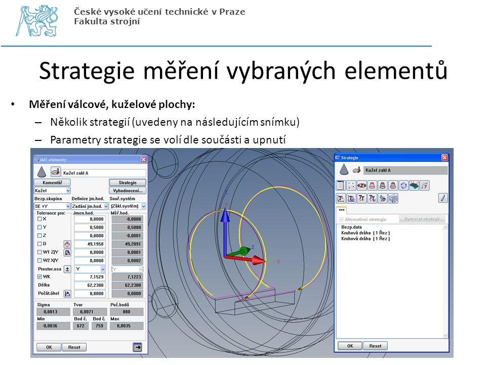 Strategie měření vybraných elementů Měření válcové, kuželové plochy: – Několik strategií (uvedeny na následujícím snímku) – Parametry strategie se vol