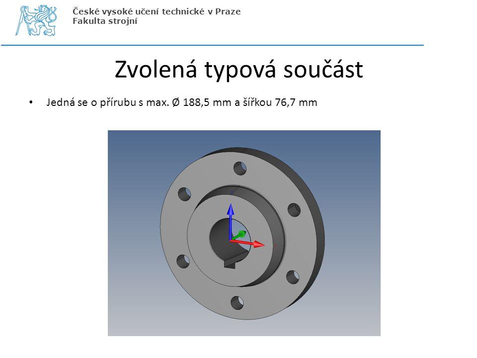 Zvolená typová součást Jedná se o přírubu s max. Ø 188,5 mm a šířkou 76,7 mm České vysoké učení technické v Praze Fakulta strojní