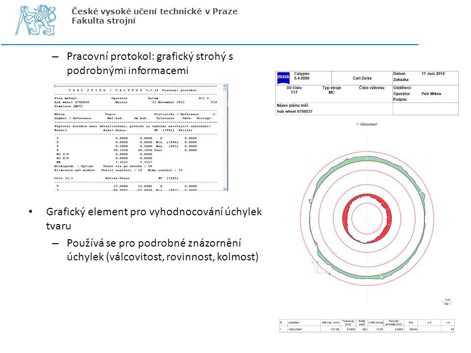 – Pracovní protokol: grafický strohý s podrobnými informacemi Grafický element pro vyhodnocování úchylek tvaru – Používá se pro podrobné znázornění úc