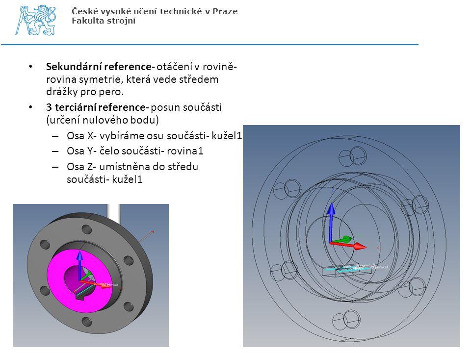 Sekundární reference- otáčení v rovině- rovina symetrie, která vede středem drážky pro pero. 3 terciární reference- posun součásti (určení nulového bo