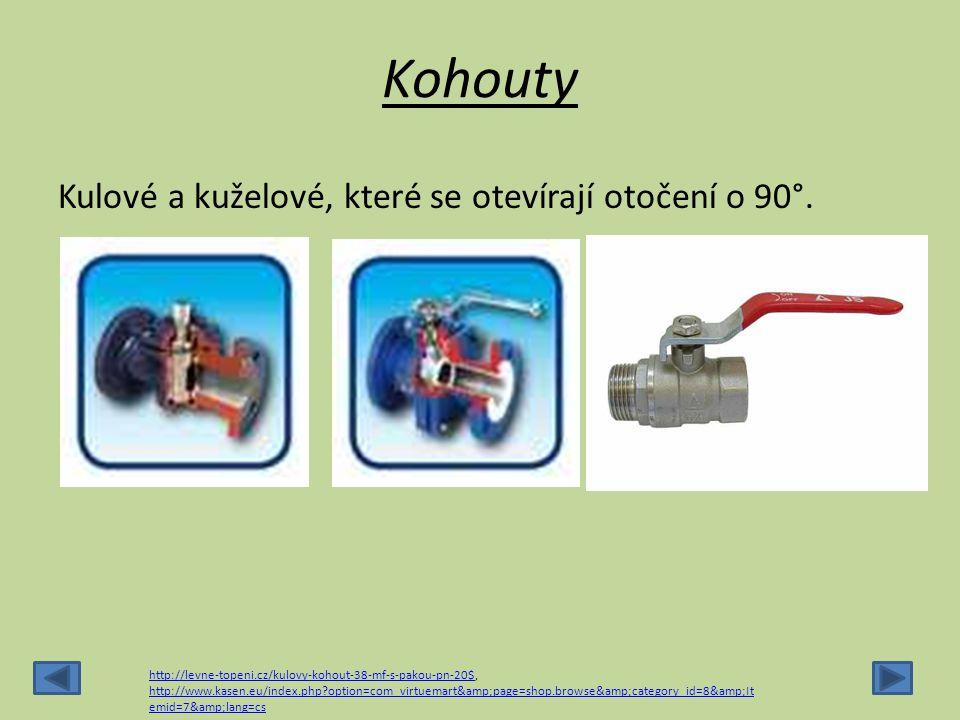 Kohouty Kulové a kuželové, které se otevírají otočení o 90°. http://levne-topeni.cz/kulovy-kohout-38-mf-s-pakou-pn-20$http://levne-topeni.cz/kulovy-ko