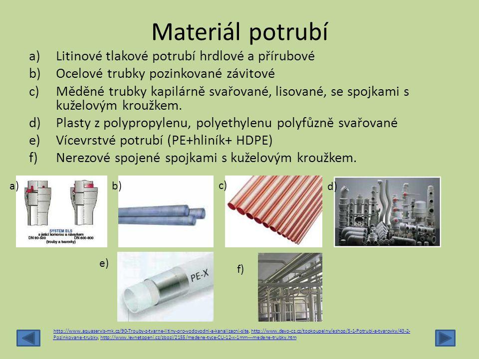 Materiál potrubí a)Litinové tlakové potrubí hrdlové a přírubové b)Ocelové trubky pozinkované závitové c)Měděné trubky kapilárně svařované, lisované, s
